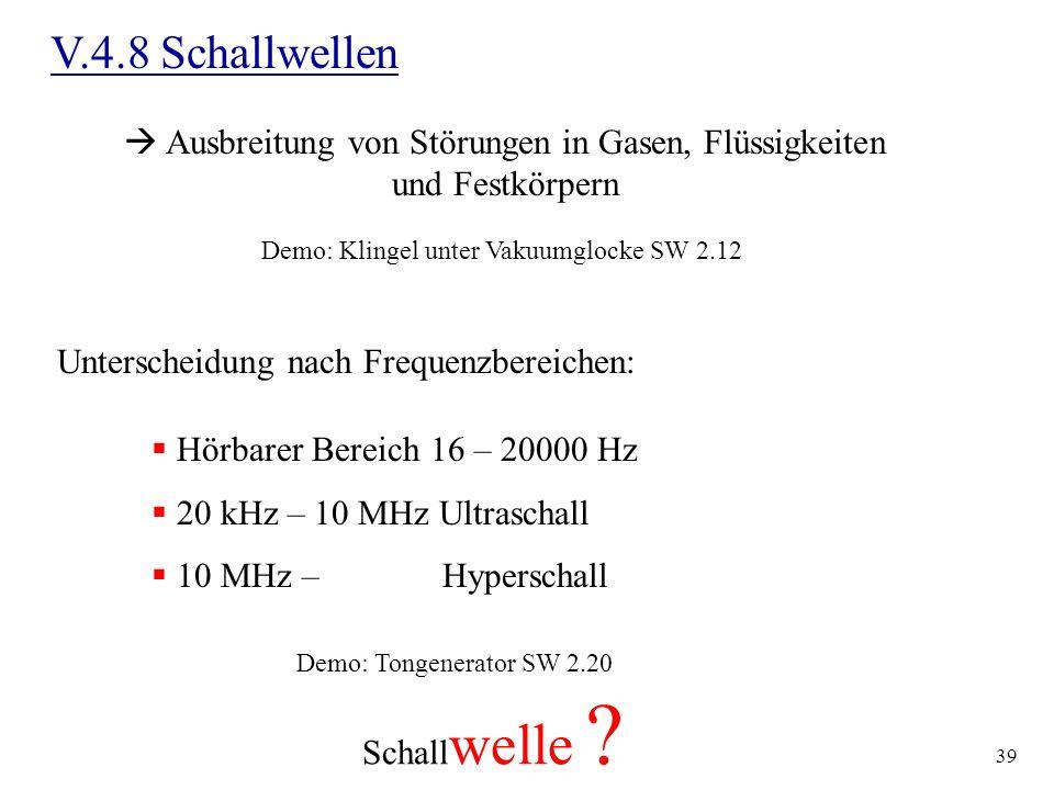 39 V.4.8 Schallwellen Ausbreitung von Störungen in Gasen, Flüssigkeiten und Festkörpern Demo: Klingel unter Vakuumglocke SW 2.12 Unterscheidung nach F