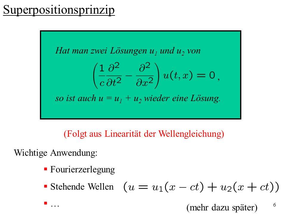 27 V.4.7 Typische Wellenphänomene am Beispiel von Wasserwellen --- Huygenssches Prinzip Allgemeine Theorie der Wasserwellen kompliziert: nichtstationäre Bewegung von Flüssigkeiten Beschreibung durch Euler-Gleichung falls Flüssigkeit als inkompressibel ohne innere Reibung angenommen wird ideale Flüssigkeit Äußere Kraftdichte: Gravitation Schwerewellen Außerdem: Randbedingungen am Rand der Flüssigkeit Wellengleichung nimmt komplizierte Form an