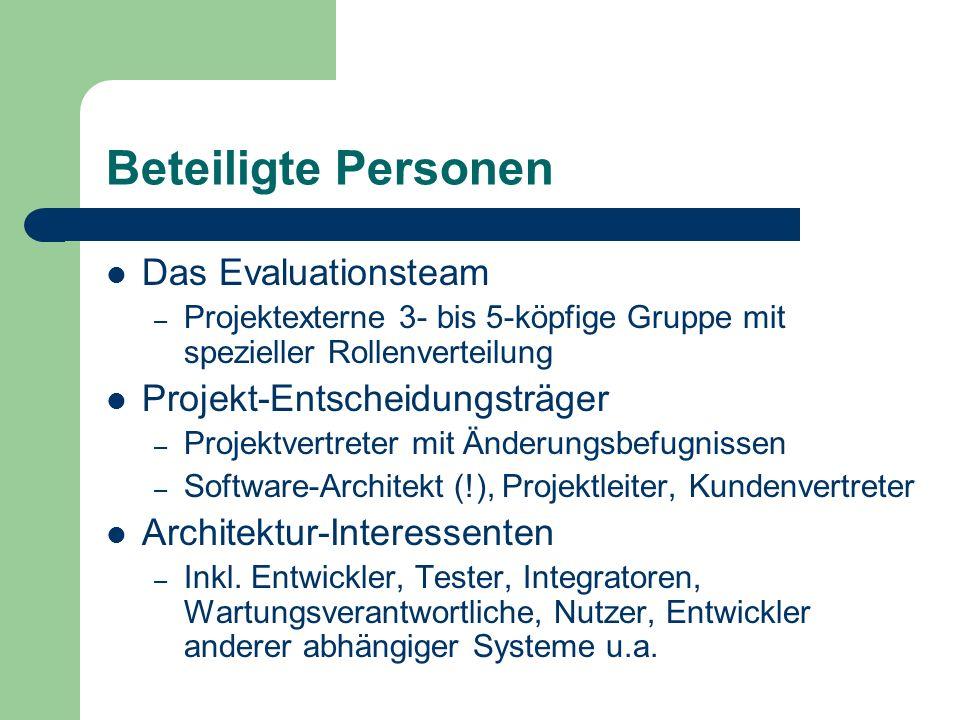 Beteiligte Personen Das Evaluationsteam – Projektexterne 3- bis 5-köpfige Gruppe mit spezieller Rollenverteilung Projekt-Entscheidungsträger – Projekt