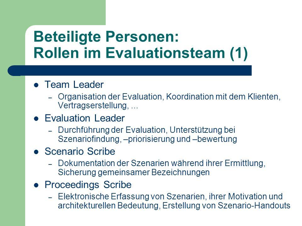 Beteiligte Personen: Rollen im Evaluationsteam (1) Team Leader – Organisation der Evaluation, Koordination mit dem Klienten, Vertragserstellung,... Ev