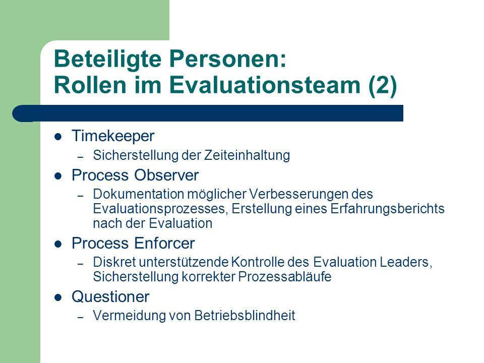 Beteiligte Personen: Rollen im Evaluationsteam (2) Timekeeper – Sicherstellung der Zeiteinhaltung Process Observer – Dokumentation möglicher Verbesser