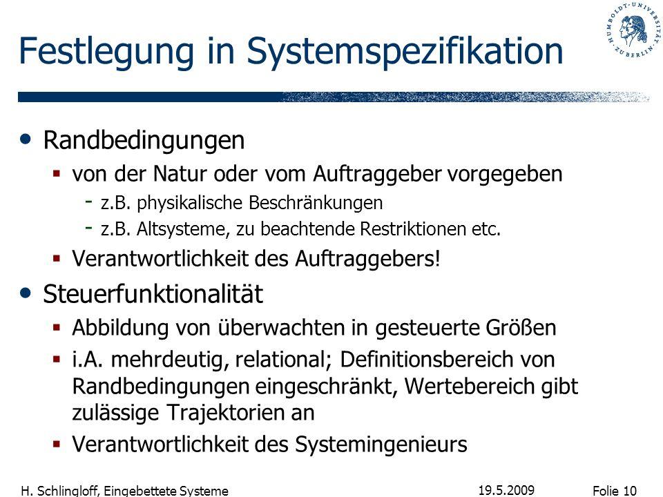 Folie 10 H. Schlingloff, Eingebettete Systeme 19.5.2009 Festlegung in Systemspezifikation Randbedingungen von der Natur oder vom Auftraggeber vorgegeb