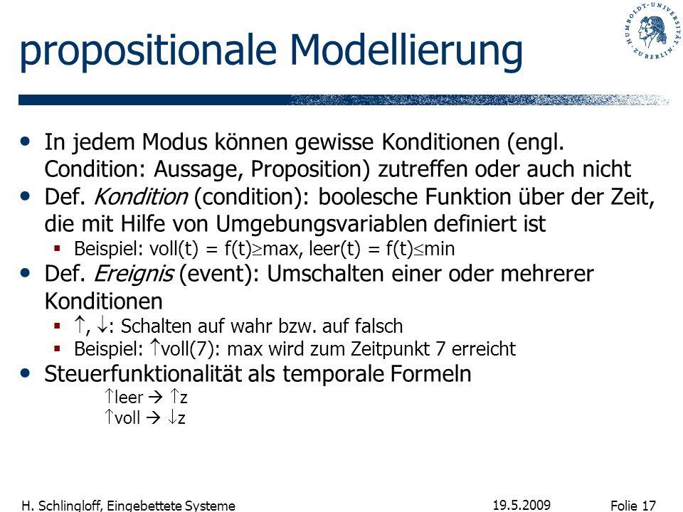 Folie 17 H. Schlingloff, Eingebettete Systeme 19.5.2009 propositionale Modellierung In jedem Modus können gewisse Konditionen (engl. Condition: Aussag