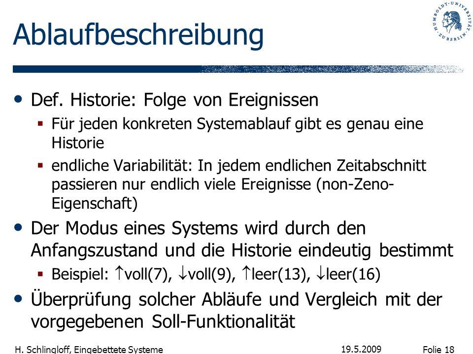 Folie 18 H. Schlingloff, Eingebettete Systeme 19.5.2009 Ablaufbeschreibung Def. Historie: Folge von Ereignissen Für jeden konkreten Systemablauf gibt