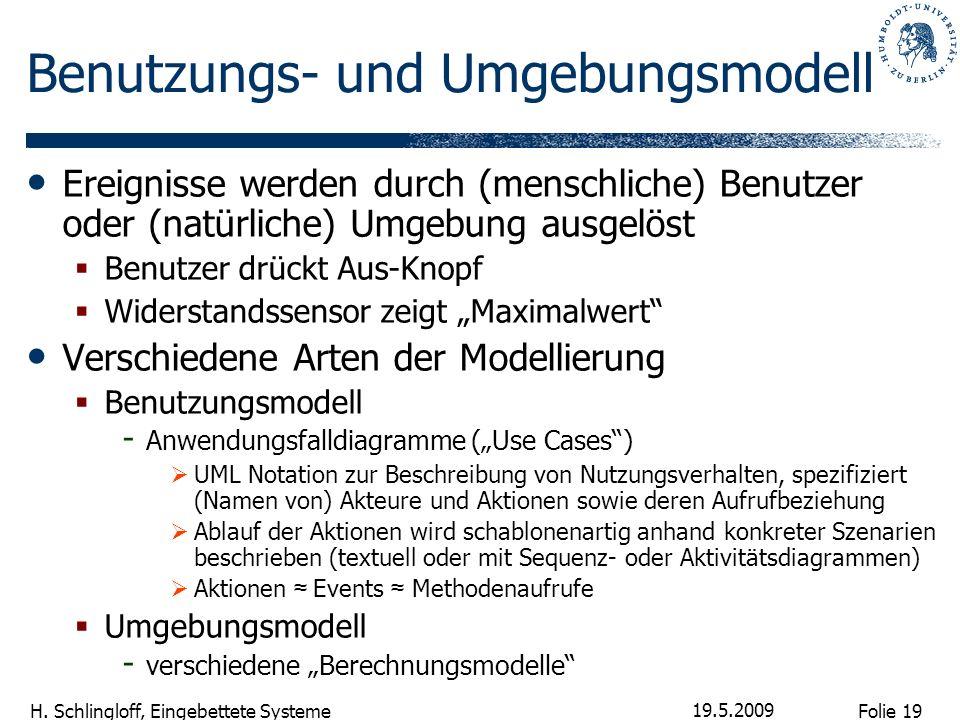Folie 19 H. Schlingloff, Eingebettete Systeme 19.5.2009 Benutzungs- und Umgebungsmodell Ereignisse werden durch (menschliche) Benutzer oder (natürlich