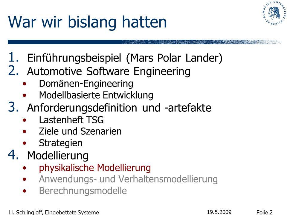 Folie 2 H. Schlingloff, Eingebettete Systeme 19.5.2009 War wir bislang hatten 1. Einführungsbeispiel (Mars Polar Lander) 2. Automotive Software Engine