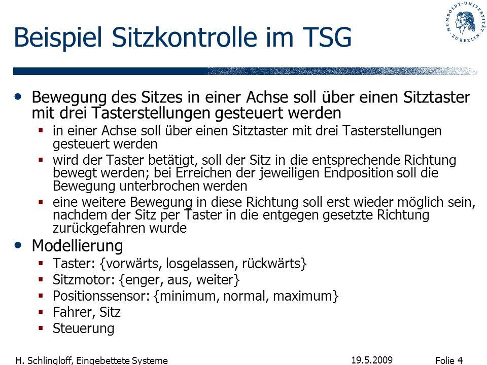 Folie 4 H. Schlingloff, Eingebettete Systeme 19.5.2009 Beispiel Sitzkontrolle im TSG Bewegung des Sitzes in einer Achse soll über einen Sitztaster mit