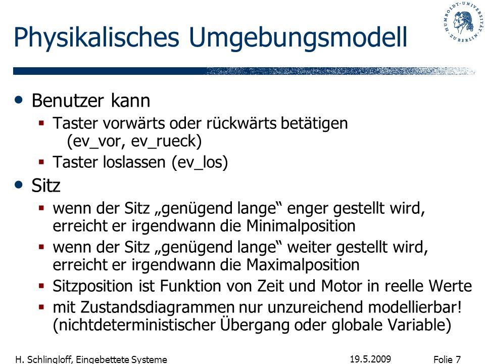 Folie 7 H. Schlingloff, Eingebettete Systeme 19.5.2009 Physikalisches Umgebungsmodell Benutzer kann Taster vorwärts oder rückwärts betätigen (ev_vor,