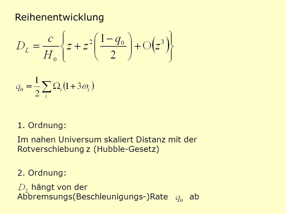 Reihenentwicklung 1. Ordnung: Im nahen Universum skaliert Distanz mit der Rotverschiebung z (Hubble-Gesetz) 2. Ordnung: hängt von der Abbremsungs(Besc