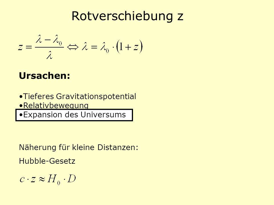 Rotverschiebung z Ursachen: Tieferes Gravitationspotential Relativbewegung Expansion des Universums Näherung für kleine Distanzen: Hubble-Gesetz