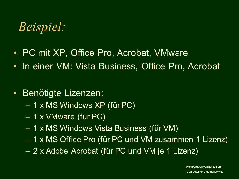Humboldt-Universität zu Berlin Computer- und Medienservice Beispiel: PC mit XP, Office Pro, Acrobat, VMware In einer VM: Vista Business, Office Pro, A