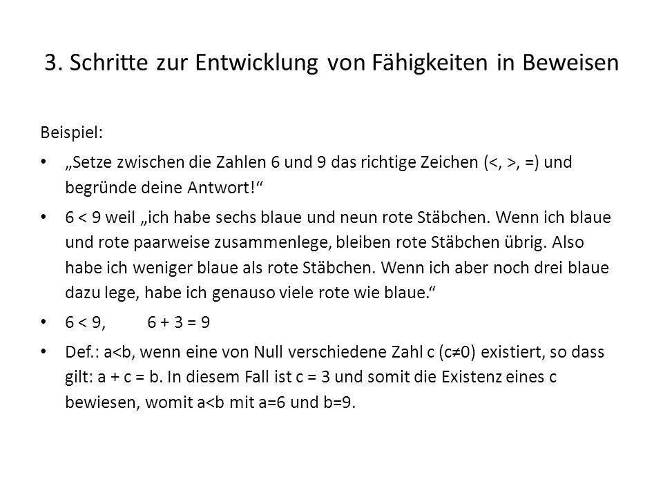 3. Schritte zur Entwicklung von Fähigkeiten in Beweisen Beispiel: Setze zwischen die Zahlen 6 und 9 das richtige Zeichen (, =) und begründe deine Antw
