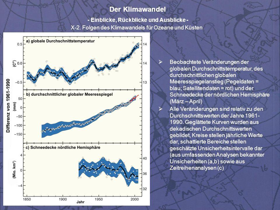 Der Klimawandel - Einblicke, Rückblicke und Ausblicke - X-2. Folgen des Klimawandels für Ozeane und Küsten Beobachtete Veränderungen der globalen Durc