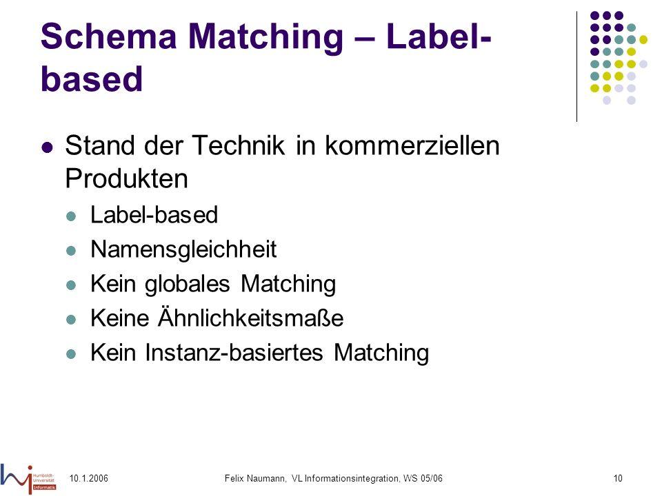 10.1.2006Felix Naumann, VL Informationsintegration, WS 05/0610 Schema Matching – Label- based Stand der Technik in kommerziellen Produkten Label-based Namensgleichheit Kein globales Matching Keine Ähnlichkeitsmaße Kein Instanz-basiertes Matching