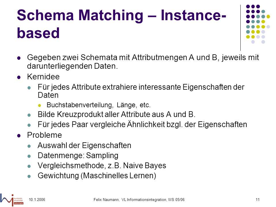 10.1.2006Felix Naumann, VL Informationsintegration, WS 05/0611 Schema Matching – Instance- based Gegeben zwei Schemata mit Attributmengen A und B, jeweils mit darunterliegenden Daten.