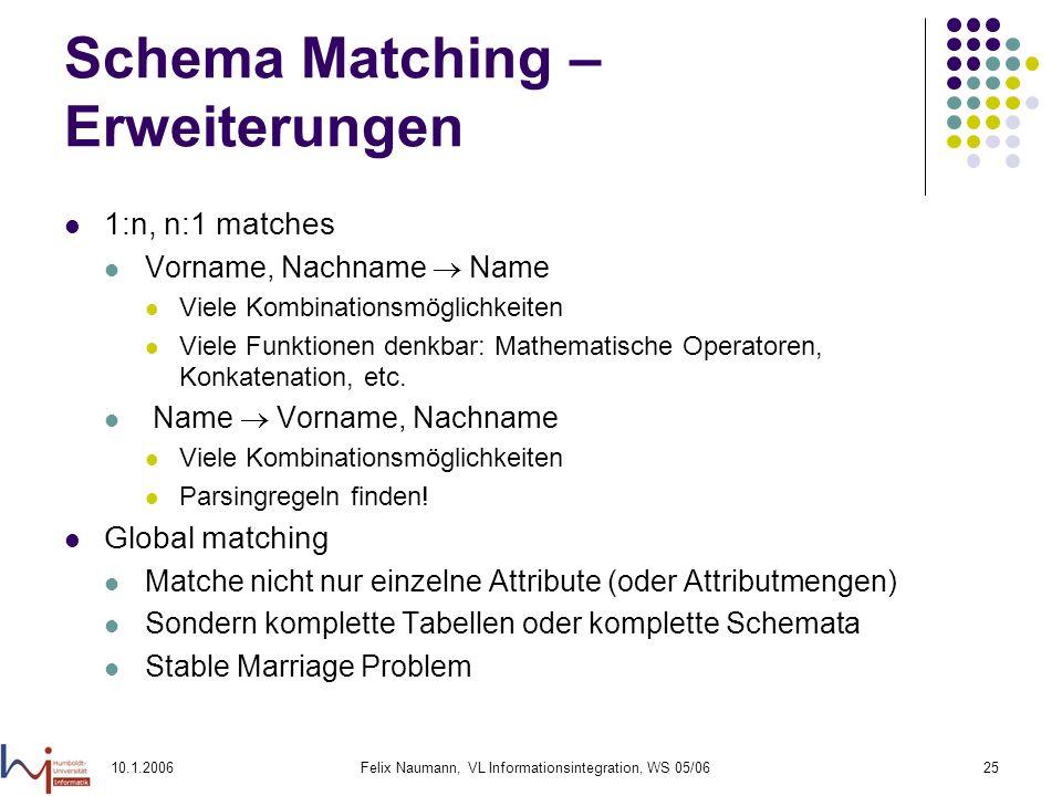 10.1.2006Felix Naumann, VL Informationsintegration, WS 05/0625 Schema Matching – Erweiterungen 1:n, n:1 matches Vorname, Nachname Name Viele Kombinationsmöglichkeiten Viele Funktionen denkbar: Mathematische Operatoren, Konkatenation, etc.