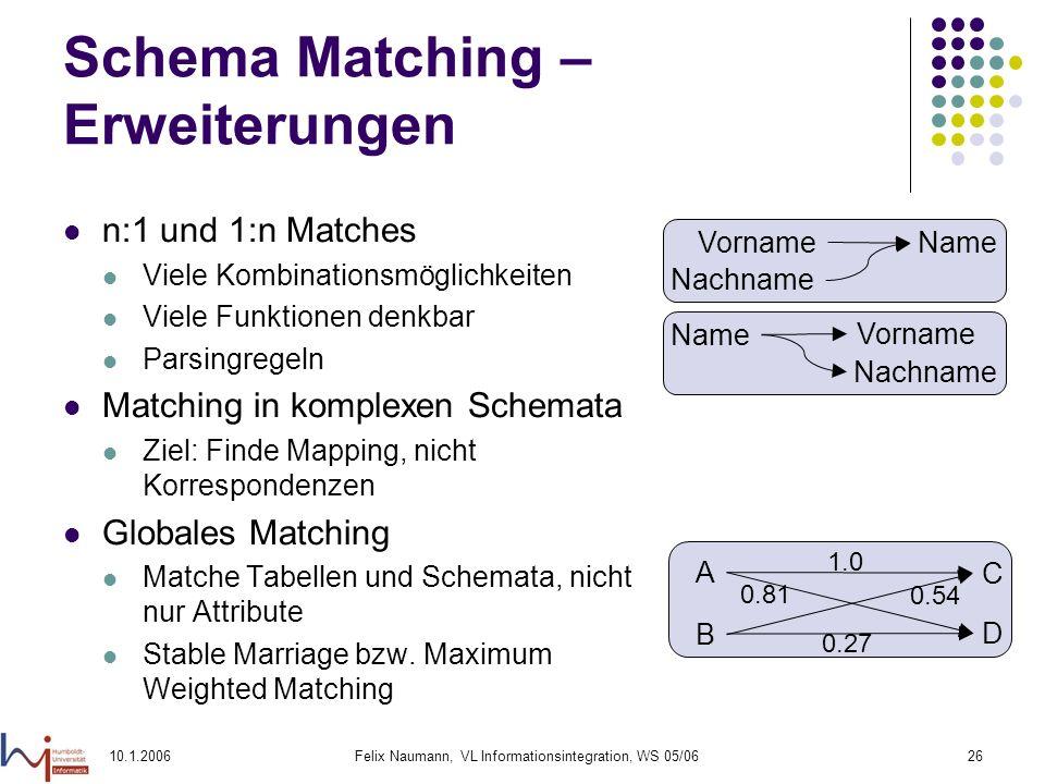 10.1.2006Felix Naumann, VL Informationsintegration, WS 05/0626 Schema Matching – Erweiterungen n:1 und 1:n Matches Viele Kombinationsmöglichkeiten Viele Funktionen denkbar Parsingregeln Matching in komplexen Schemata Ziel: Finde Mapping, nicht Korrespondenzen Globales Matching Matche Tabellen und Schemata, nicht nur Attribute Stable Marriage bzw.