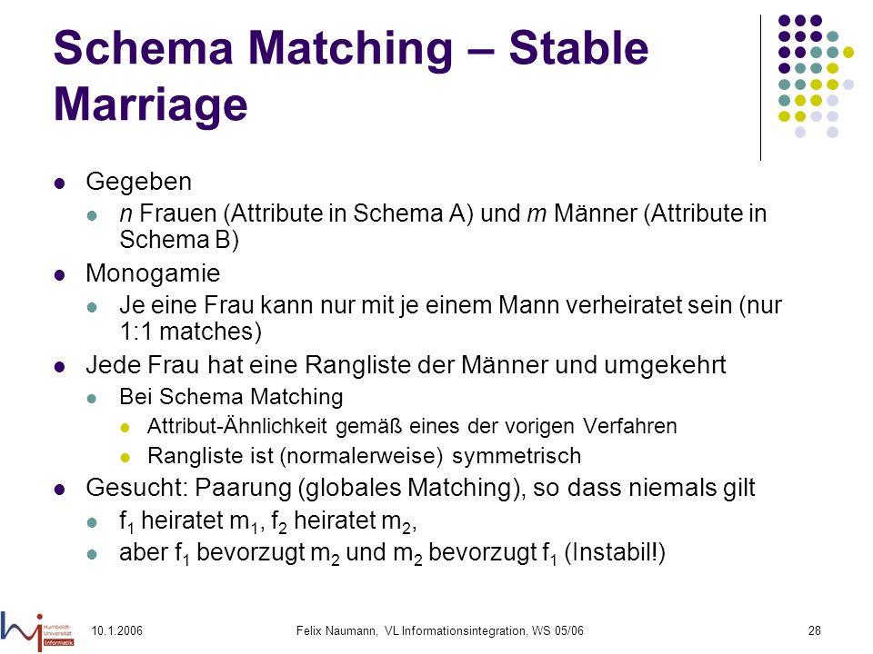 10.1.2006Felix Naumann, VL Informationsintegration, WS 05/0628 Schema Matching – Stable Marriage Gegeben n Frauen (Attribute in Schema A) und m Männer (Attribute in Schema B) Monogamie Je eine Frau kann nur mit je einem Mann verheiratet sein (nur 1:1 matches) Jede Frau hat eine Rangliste der Männer und umgekehrt Bei Schema Matching Attribut-Ähnlichkeit gemäß eines der vorigen Verfahren Rangliste ist (normalerweise) symmetrisch Gesucht: Paarung (globales Matching), so dass niemals gilt f 1 heiratet m 1, f 2 heiratet m 2, aber f 1 bevorzugt m 2 und m 2 bevorzugt f 1 (Instabil!)