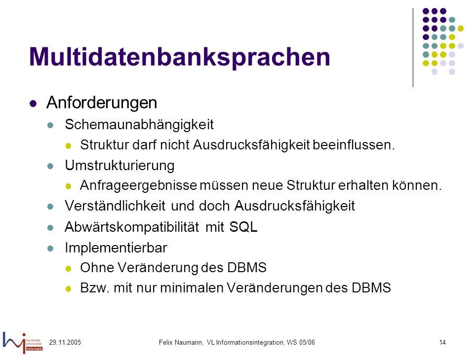 29.11.2005Felix Naumann, VL Informationsintegration, WS 05/0614 Multidatenbanksprachen Anforderungen Schemaunabhängigkeit Struktur darf nicht Ausdrucksfähigkeit beeinflussen.