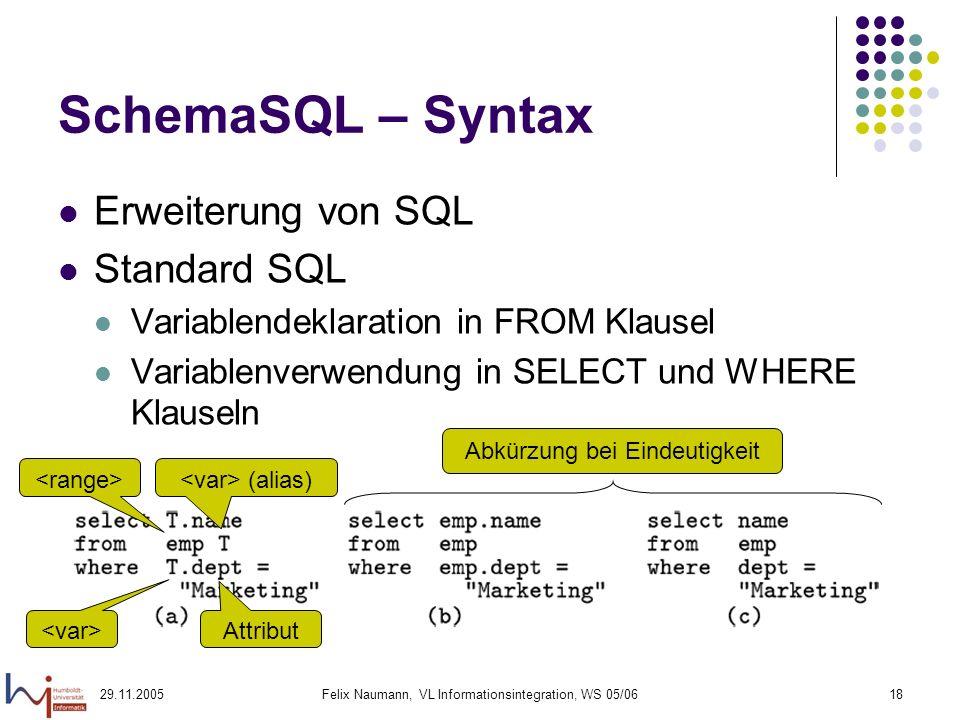 29.11.2005Felix Naumann, VL Informationsintegration, WS 05/0618 SchemaSQL – Syntax Erweiterung von SQL Standard SQL Variablendeklaration in FROM Klausel Variablenverwendung in SELECT und WHERE Klauseln (alias) Attribut Abkürzung bei Eindeutigkeit