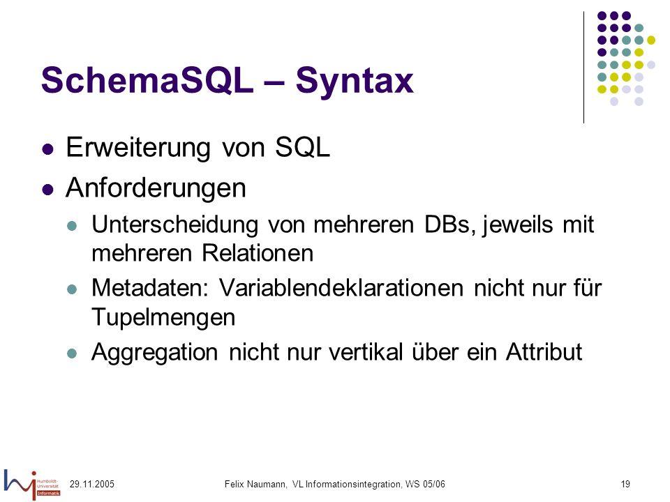 29.11.2005Felix Naumann, VL Informationsintegration, WS 05/0619 SchemaSQL – Syntax Erweiterung von SQL Anforderungen Unterscheidung von mehreren DBs, jeweils mit mehreren Relationen Metadaten: Variablendeklarationen nicht nur für Tupelmengen Aggregation nicht nur vertikal über ein Attribut