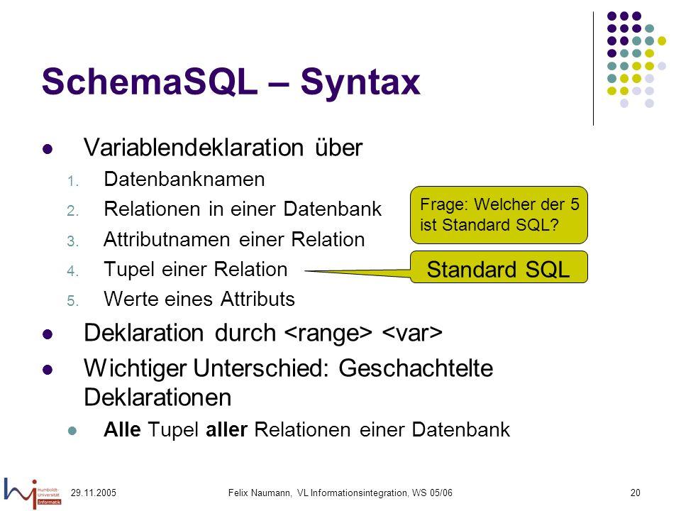 29.11.2005Felix Naumann, VL Informationsintegration, WS 05/0620 SchemaSQL – Syntax Variablendeklaration über 1. Datenbanknamen 2. Relationen in einer
