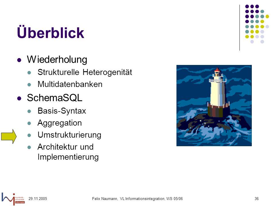 29.11.2005Felix Naumann, VL Informationsintegration, WS 05/0636 Überblick Wiederholung Strukturelle Heterogenität Multidatenbanken SchemaSQL Basis-Syntax Aggregation Umstrukturierung Architektur und Implementierung