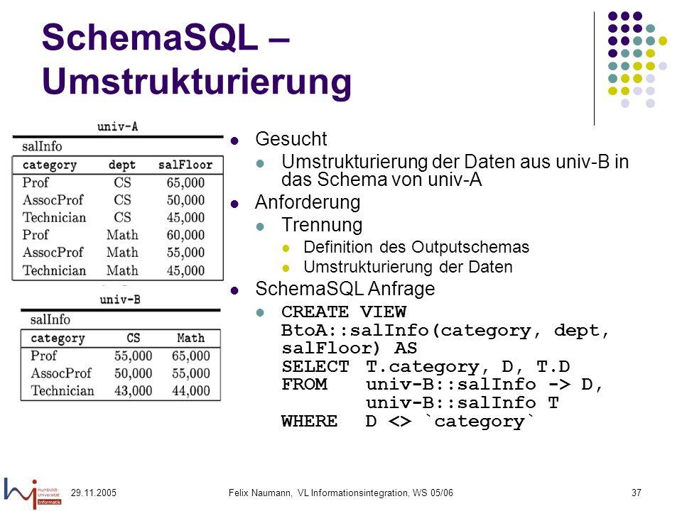 29.11.2005Felix Naumann, VL Informationsintegration, WS 05/0637 SchemaSQL – Umstrukturierung Gesucht Umstrukturierung der Daten aus univ-B in das Schema von univ-A Anforderung Trennung Definition des Outputschemas Umstrukturierung der Daten SchemaSQL Anfrage CREATE VIEW BtoA::salInfo(category, dept, salFloor) AS SELECT T.category, D, T.D FROM univ-B::salInfo -> D, univ-B::salInfo T WHERED <> `category`