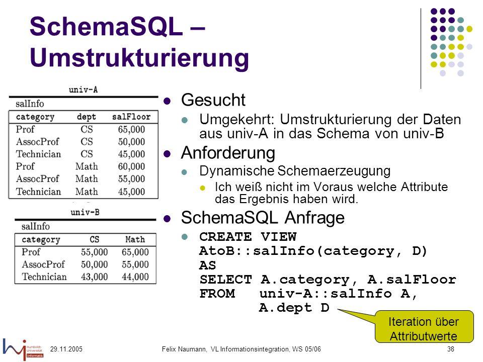 29.11.2005Felix Naumann, VL Informationsintegration, WS 05/0638 SchemaSQL – Umstrukturierung Gesucht Umgekehrt: Umstrukturierung der Daten aus univ-A in das Schema von univ-B Anforderung Dynamische Schemaerzeugung Ich weiß nicht im Voraus welche Attribute das Ergebnis haben wird.