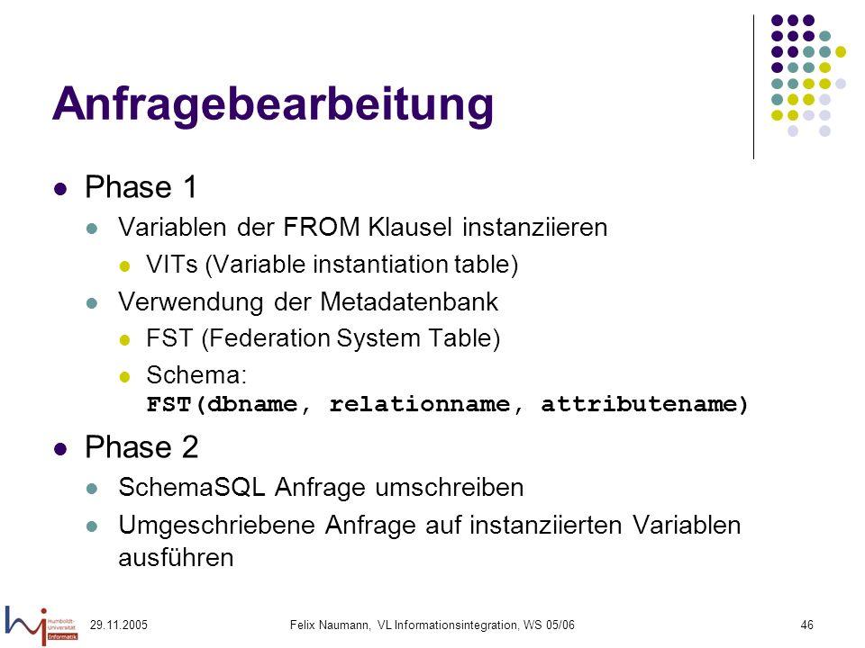 29.11.2005Felix Naumann, VL Informationsintegration, WS 05/0646 Anfragebearbeitung Phase 1 Variablen der FROM Klausel instanziieren VITs (Variable instantiation table) Verwendung der Metadatenbank FST (Federation System Table) Schema: FST(dbname, relationname, attributename) Phase 2 SchemaSQL Anfrage umschreiben Umgeschriebene Anfrage auf instanziierten Variablen ausführen