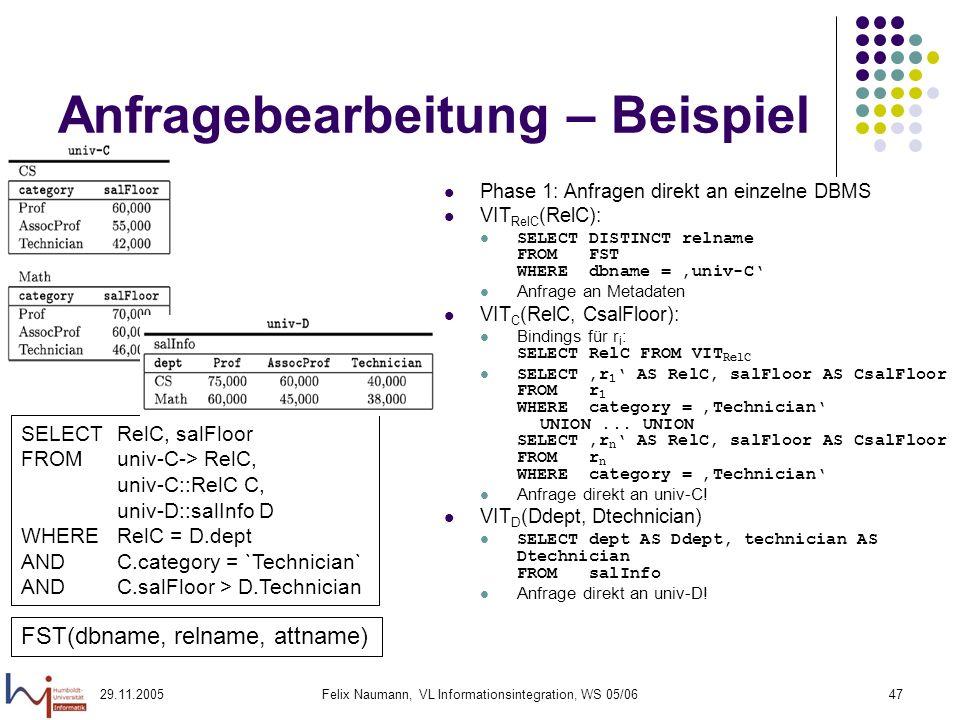 29.11.2005Felix Naumann, VL Informationsintegration, WS 05/0647 Anfragebearbeitung – Beispiel Phase 1: Anfragen direkt an einzelne DBMS VIT RelC (RelC