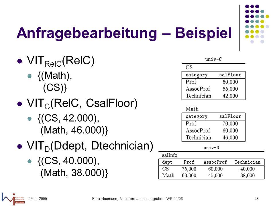 29.11.2005Felix Naumann, VL Informationsintegration, WS 05/0648 Anfragebearbeitung – Beispiel VIT RelC (RelC) {(Math), (CS)} VIT C (RelC, CsalFloor) {(CS, 42.000), (Math, 46.000)} VIT D (Ddept, Dtechnician) {(CS, 40.000), (Math, 38.000)}