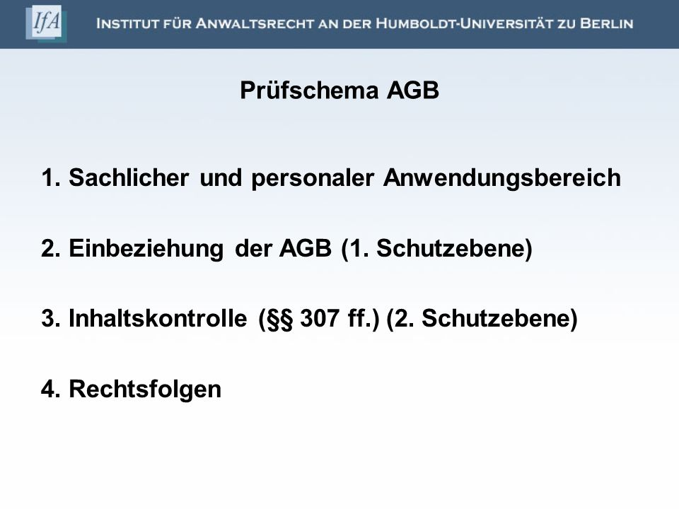 Prüfschema AGB 1.