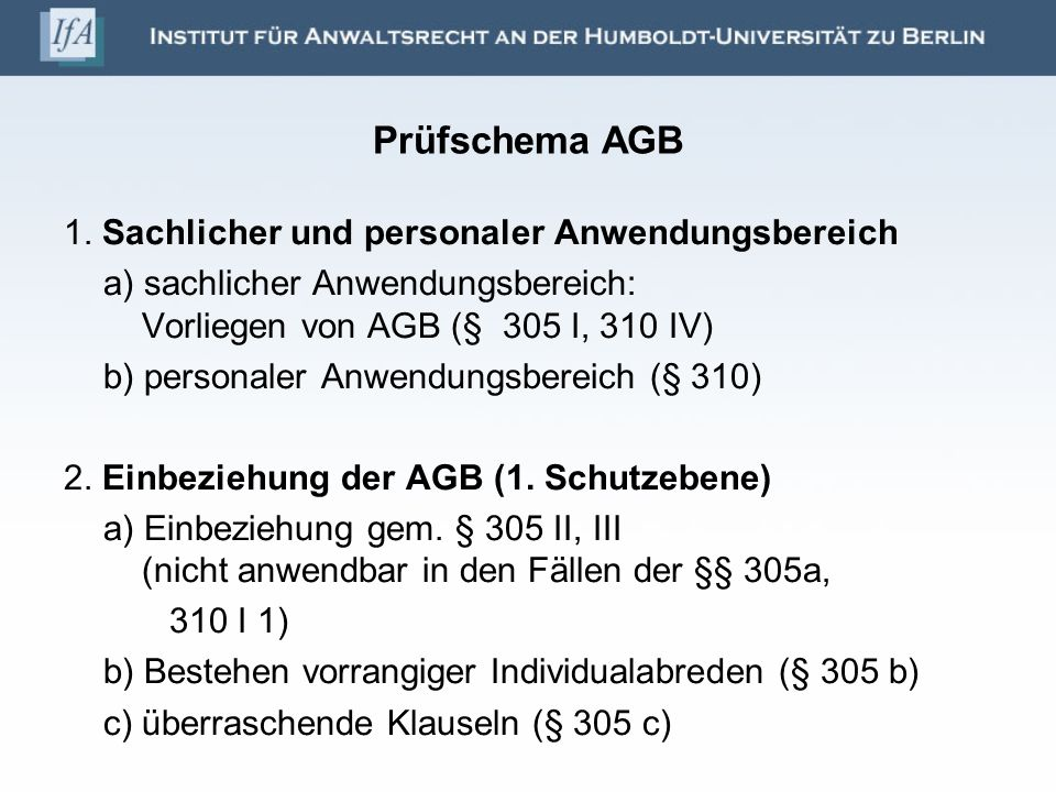 Prüfschema AGB 3.Inhaltskontrolle (§§ 307 ff.) (2.
