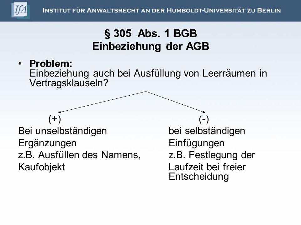§ 305 Abs. 1 BGB Einbeziehung der AGB Problem: Einbeziehung auch bei Ausfüllung von Leerräumen in Vertragsklauseln? (+)(-) Bei unselbständigenbei selb