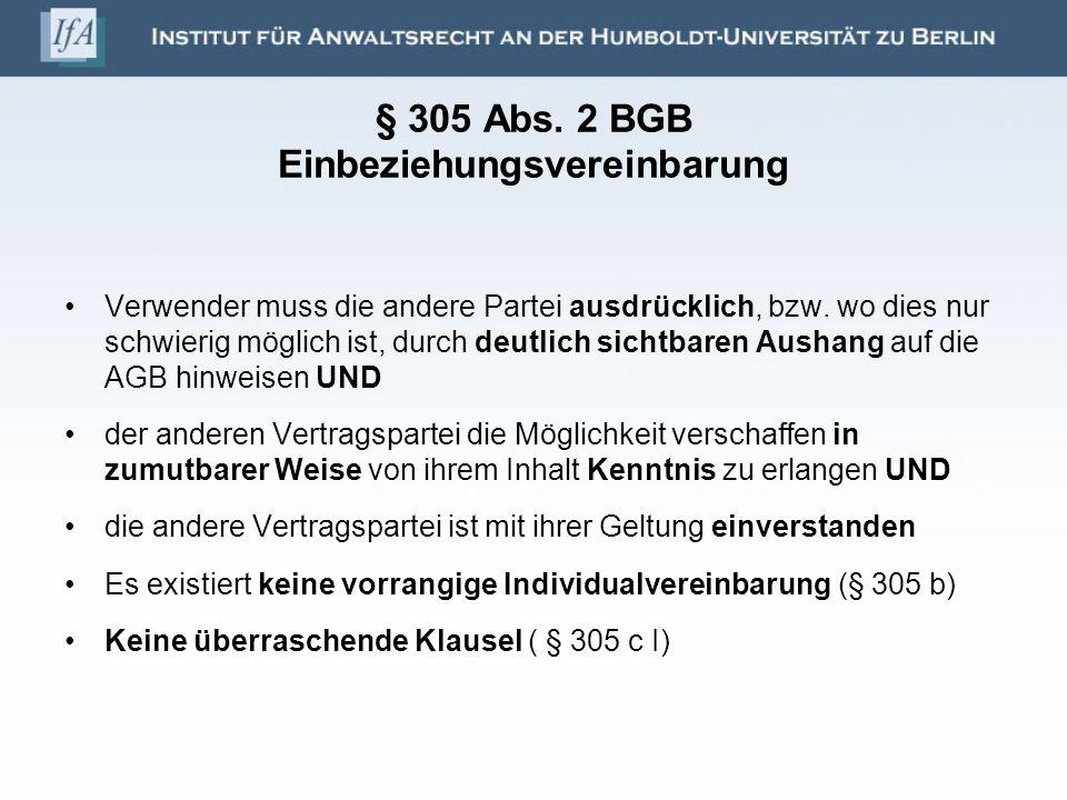 § 305 Abs.2 BGB - Fälle 1. ausdrücklicher Hinweis (§ 305 II Nr.