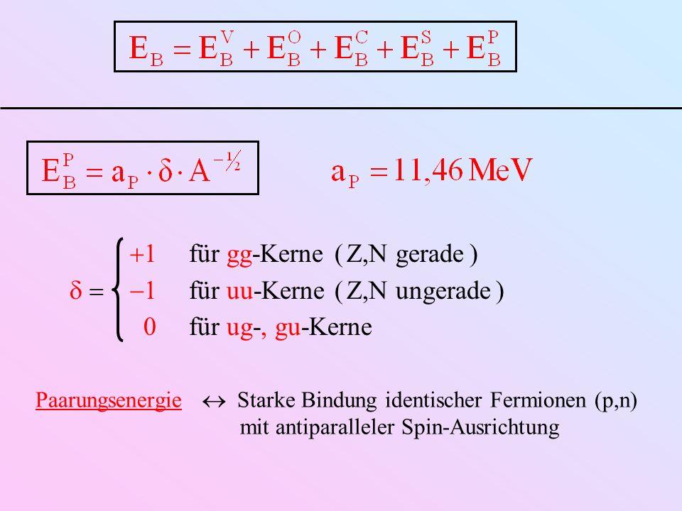 Paarungsenergie Starke Bindung identischer Fermionen (p,n) mit antiparalleler Spin-Ausrichtung 1für gg-Kerne( Z,N gerade ) 1für uu-Kerne( Z,N ungerade