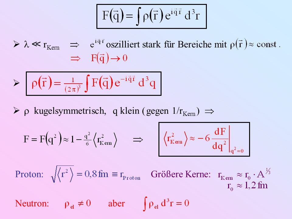 Weitere Komplikationen: ( Literatur ) Kernspin FormfaktorenBedeutung 0 1 normierte Ladungsverteilung ½ 2 Ladungsverteilung Verteilung des magnetischen Dipolmoments Ladungsverteilung 1 3 Verteilung des magnetischen Dipolmoments Verteilung des magnetischen Quadrupolmoments