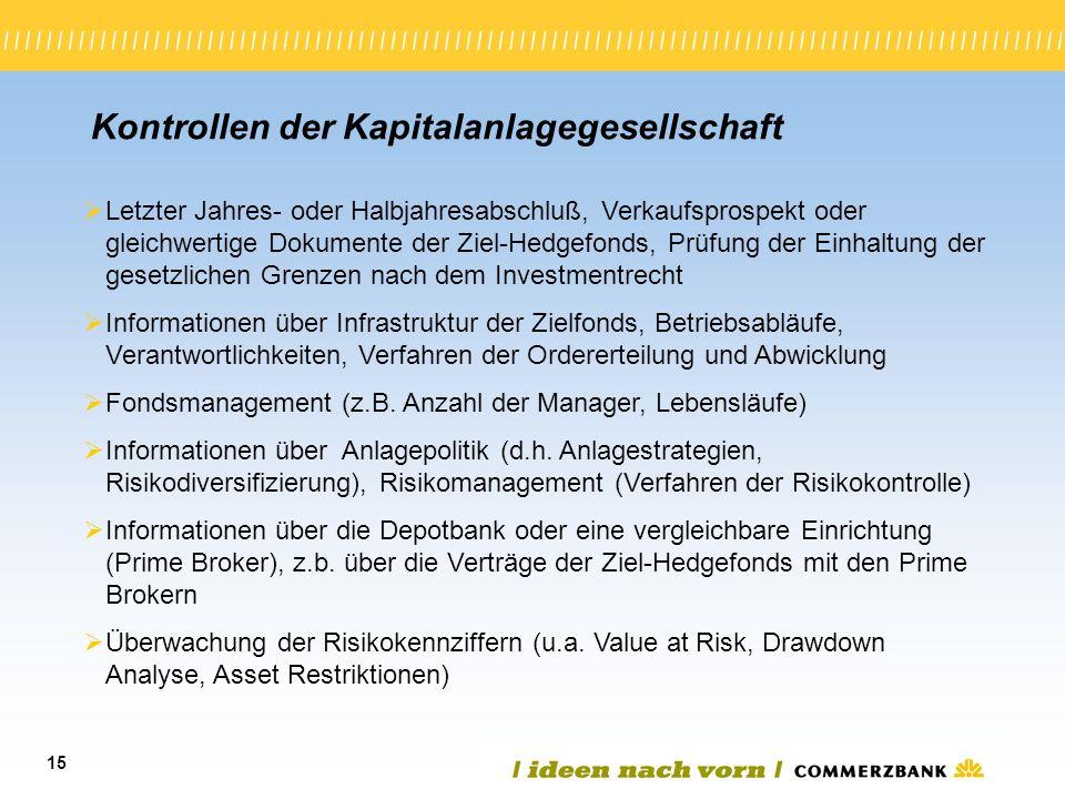 15 Kontrollen der Kapitalanlagegesellschaft Letzter Jahres- oder Halbjahresabschluß, Verkaufsprospekt oder gleichwertige Dokumente der Ziel-Hedgefonds