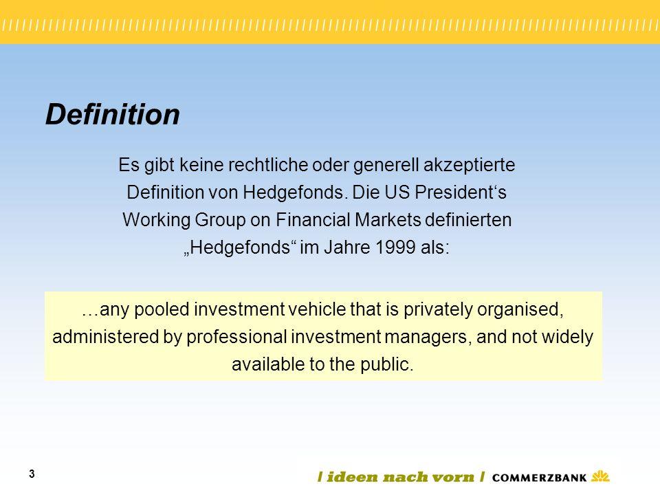 3 Definition Es gibt keine rechtliche oder generell akzeptierte Definition von Hedgefonds. Die US Presidents Working Group on Financial Markets defini