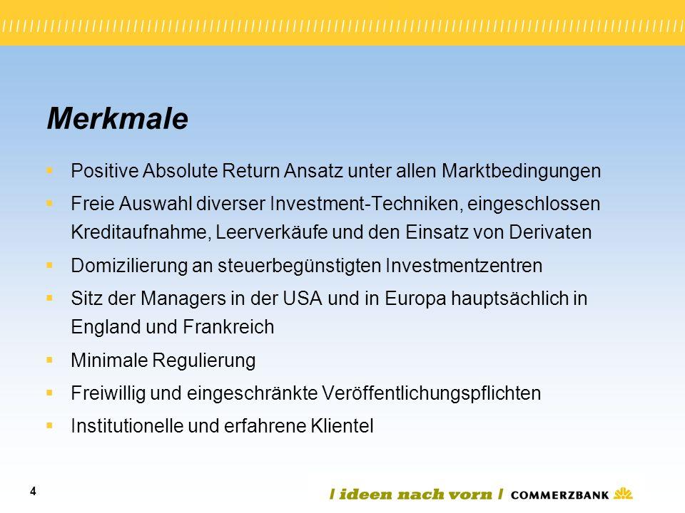 4 Merkmale Positive Absolute Return Ansatz unter allen Marktbedingungen Freie Auswahl diverser Investment-Techniken, eingeschlossen Kreditaufnahme, Le