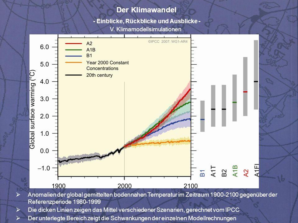 Der Klimawandel - Einblicke, Rückblicke und Ausblicke - V. Klimamodellsimulationen Anomalien der global gemittelten bodennahen Temperatur im Zeitraum