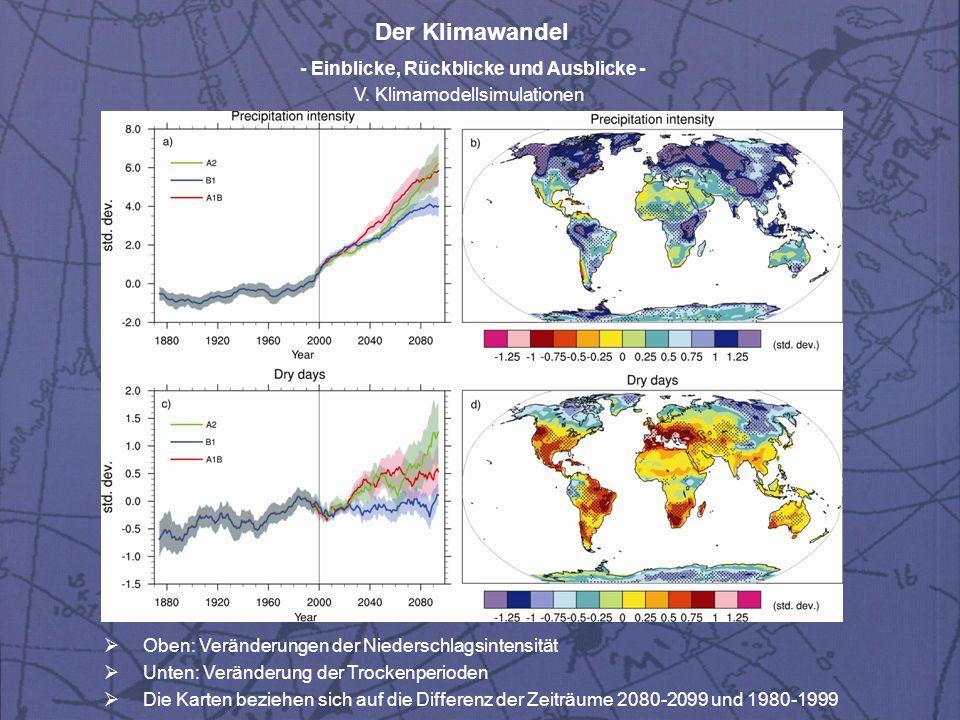 Der Klimawandel - Einblicke, Rückblicke und Ausblicke - V. Klimamodellsimulationen Oben: Veränderungen der Niederschlagsintensität Unten: Veränderung