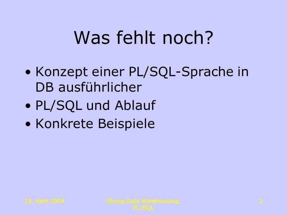15. April 2004Übung Data Warehousing: PL/SQL 2 Was fehlt noch? Konzept einer PL/SQL-Sprache in DB ausführlicher PL/SQL und Ablauf Konkrete Beispiele