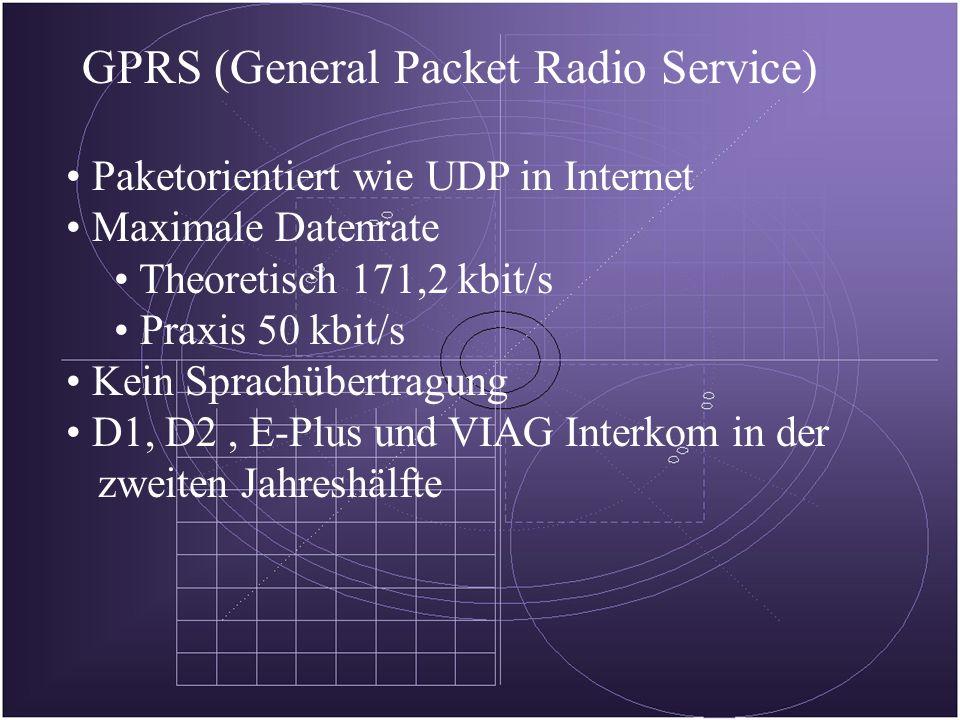 GPRS (General Packet Radio Service) Paketorientiert wie UDP in Internet Maximale Datenrate Theoretisch 171,2 kbit/s Praxis 50 kbit/s Kein Sprachübertragung D1, D2, E-Plus und VIAG Interkom in der zweiten Jahreshälfte