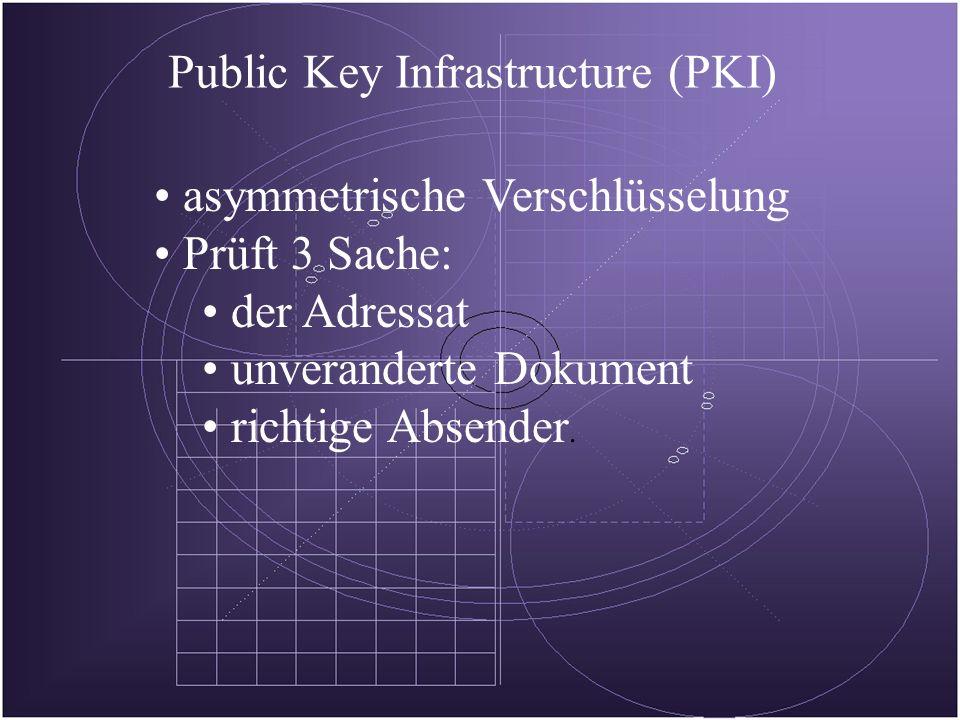 Public Key Infrastructure (PKI) asymmetrische Verschlüsselung Prüft 3 Sache: der Adressat unveranderte Dokument richtige Absender.