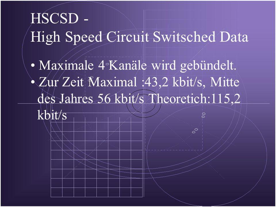 HSCSD - High Speed Circuit Switsched Data Maximale 4 Kanäle wird gebündelt.