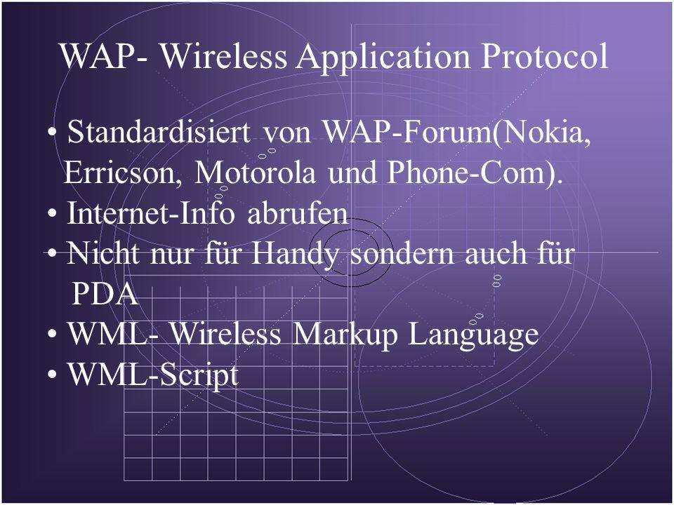 WAP- Wireless Application Protocol Standardisiert von WAP-Forum(Nokia, Erricson, Motorola und Phone-Com).