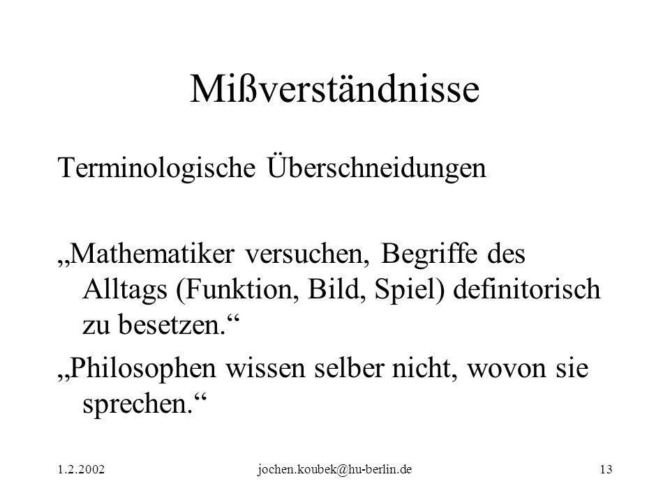 1.2.2002jochen.koubek@hu-berlin.de13 Mißverständnisse Terminologische Überschneidungen Mathematiker versuchen, Begriffe des Alltags (Funktion, Bild, Spiel) definitorisch zu besetzen.