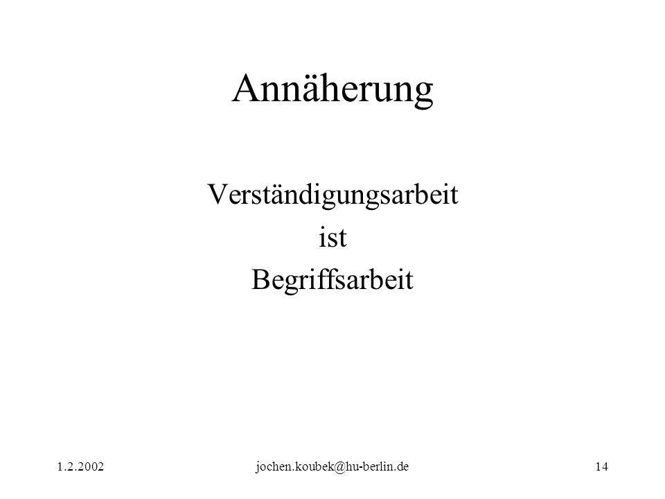 1.2.2002jochen.koubek@hu-berlin.de14 Annäherung Verständigungsarbeit ist Begriffsarbeit